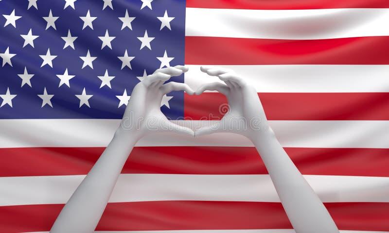 Händer i form av hjärta på flaggan av Amerikas förenta stater i studiobelysningen stock illustrationer