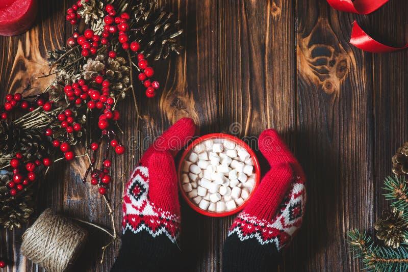 Händer i vinterhandskar med traditionell varm choklad arkivfoto