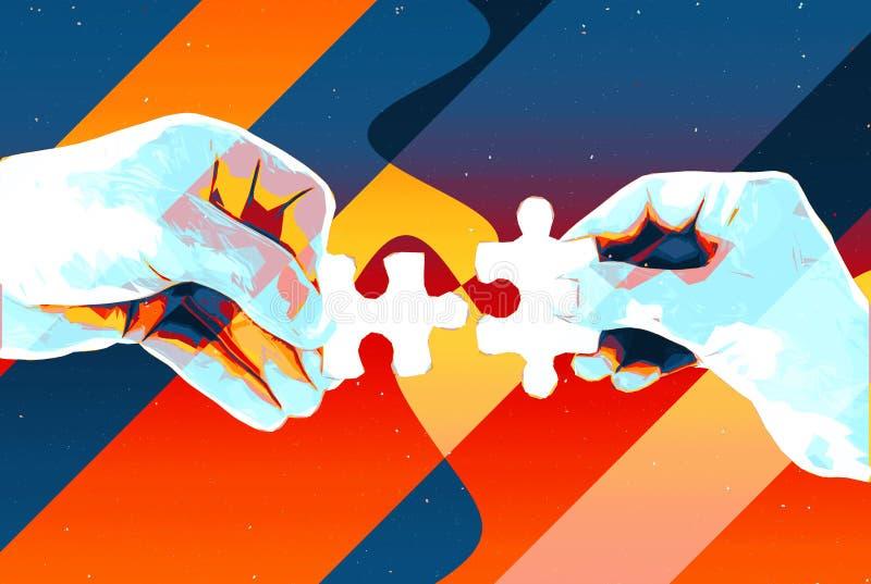 Händer med abstrakt bakgrund för två pusselstycken, den moderna illustrationen för teamwork, partnerskap, förhållande, anslutning royaltyfri illustrationer