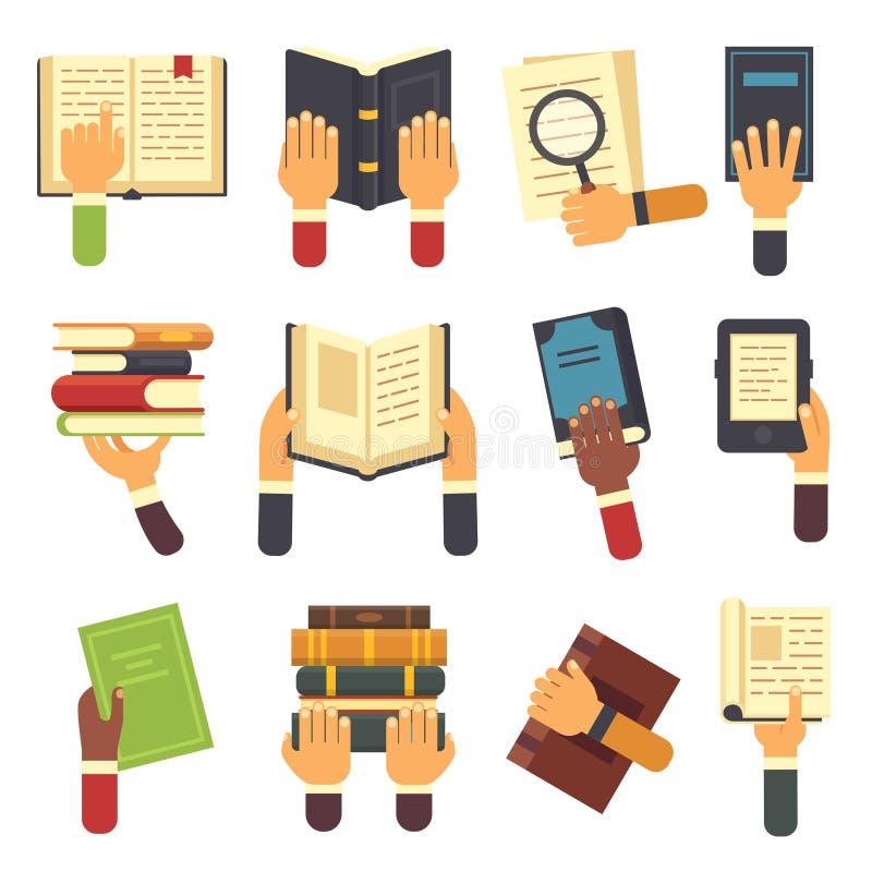 Händer med böcker Hållande bok i handen, läs- ebook och avläsaren som lär den öppna läroboksymbolen Läs- vektorsymbolsuppsättning royaltyfri illustrationer