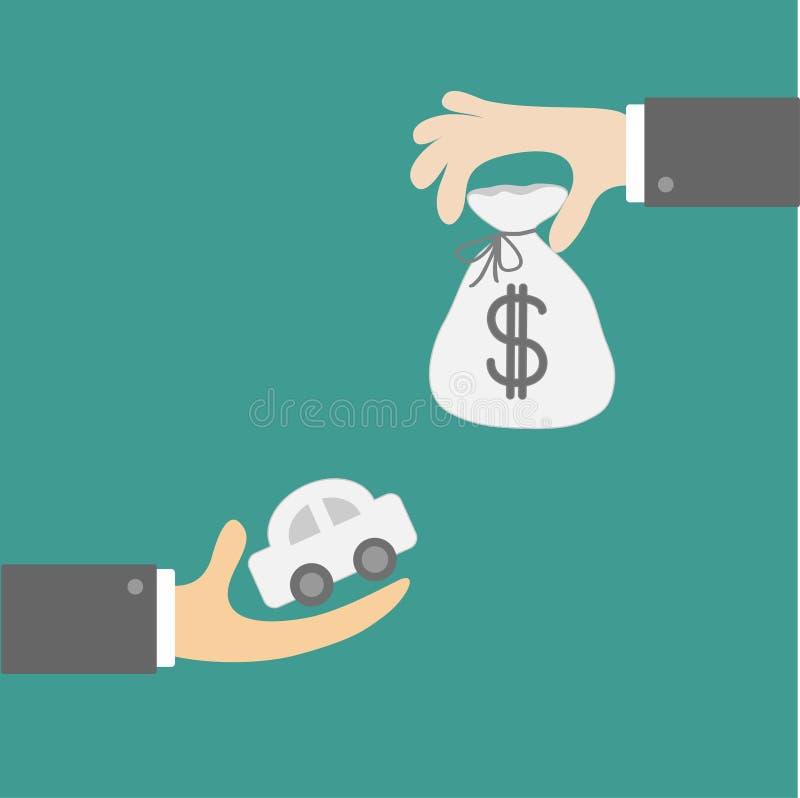Händer med bil- och pengarpåsen. Utbyte av begrepp. Plan designst royaltyfri illustrationer