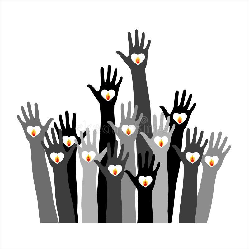 Händer med bränningstearinljuset royaltyfri illustrationer