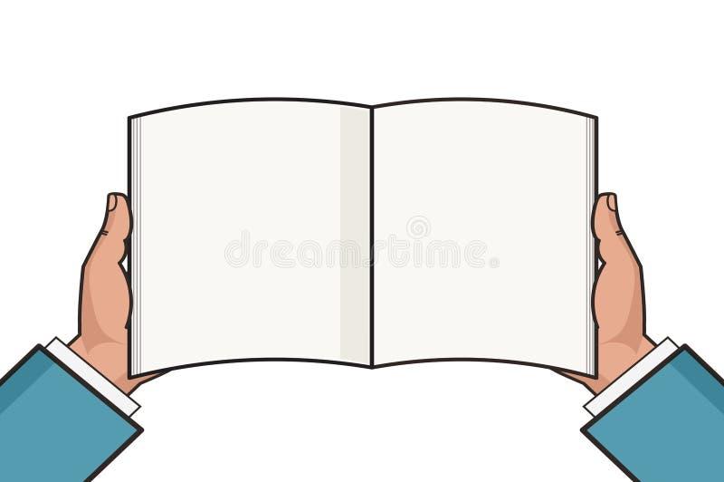 Händer med den öppna tomma bokmallen också vektor för coreldrawillustration stock illustrationer