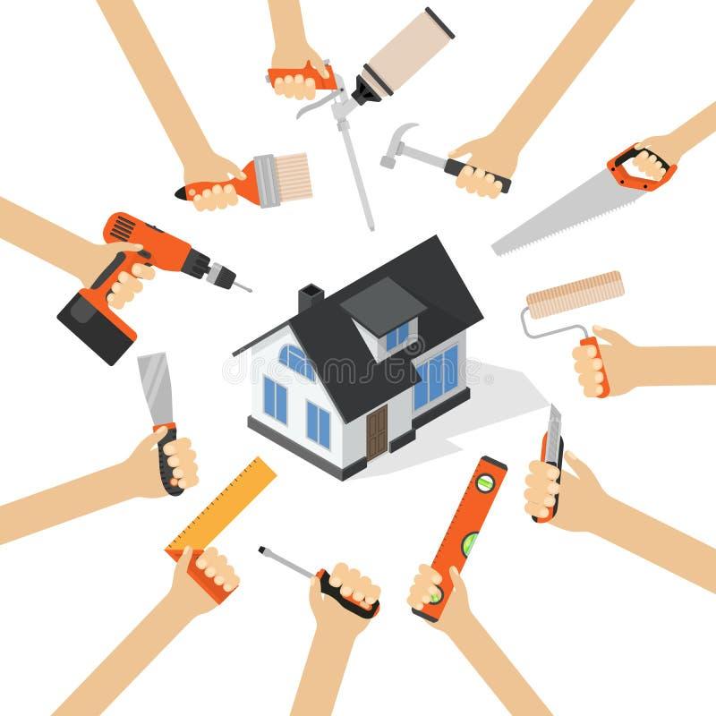 Händer med för renoveringhushållsarbete för hem- reparation diy hjälpmedel royaltyfri illustrationer