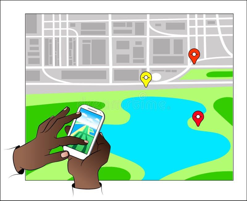 Händer med Gps-navigering stock illustrationer