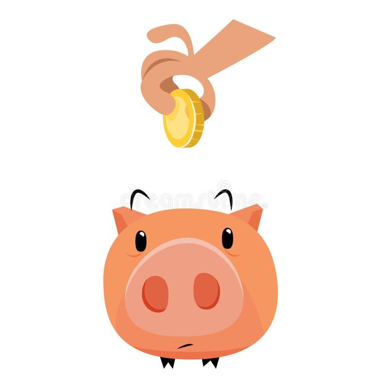 Händer med guld- mynt och den piddy banken arkivfoton