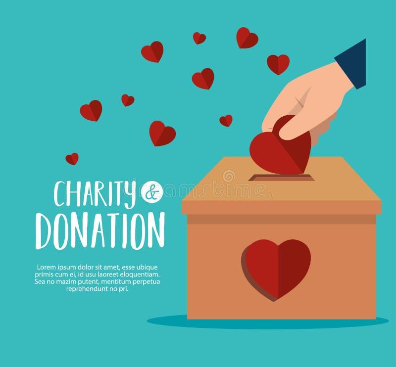 Händer med hjärtavälgörenhetdonation stock illustrationer
