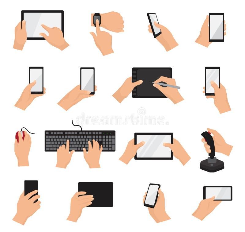 Händer med innehavet för grejvektorhanden ringer eller minnestavlaillustrationuppsättningen av teckenet som arbetar på den digita stock illustrationer