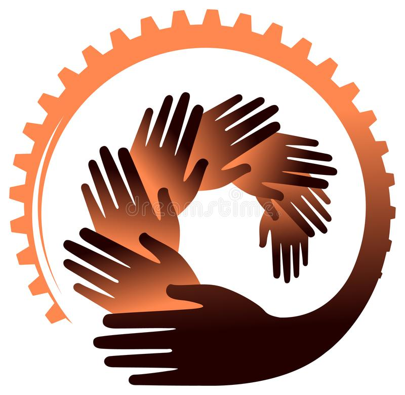 Händer med kugghjulvektorbild arkivfoto
