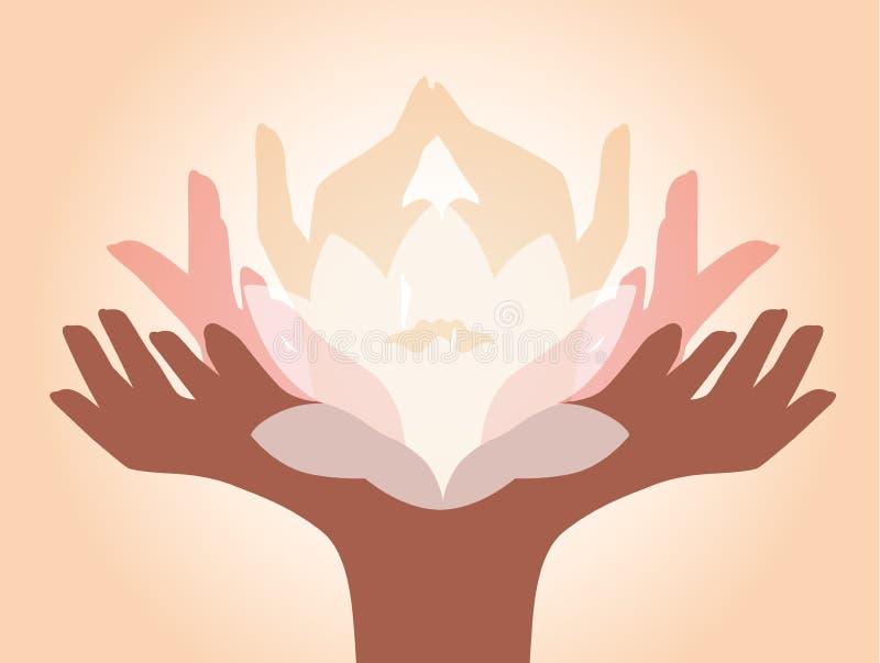Händer med lotusblomma royaltyfri illustrationer