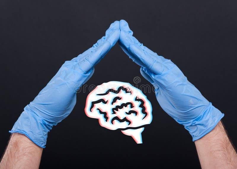Händer med medicinska handskar som skyddar en hjärna arkivbilder