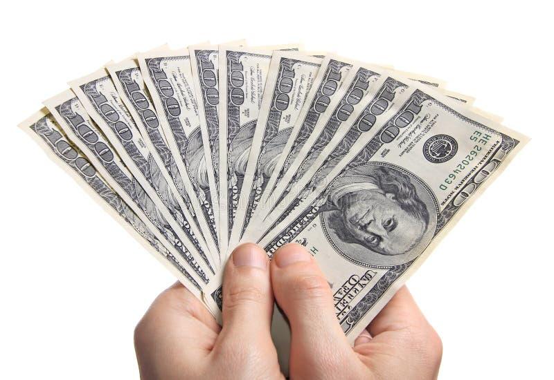 Händer med pengar royaltyfri fotografi