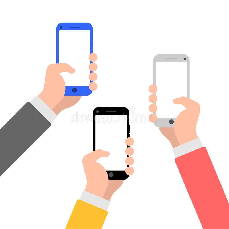 Händer med symbolen för illustration för smartphonelägenhetstil arkivfoton