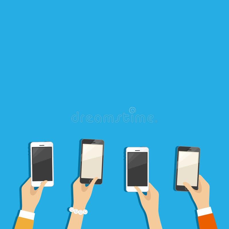 Händer med telefoner stock illustrationer