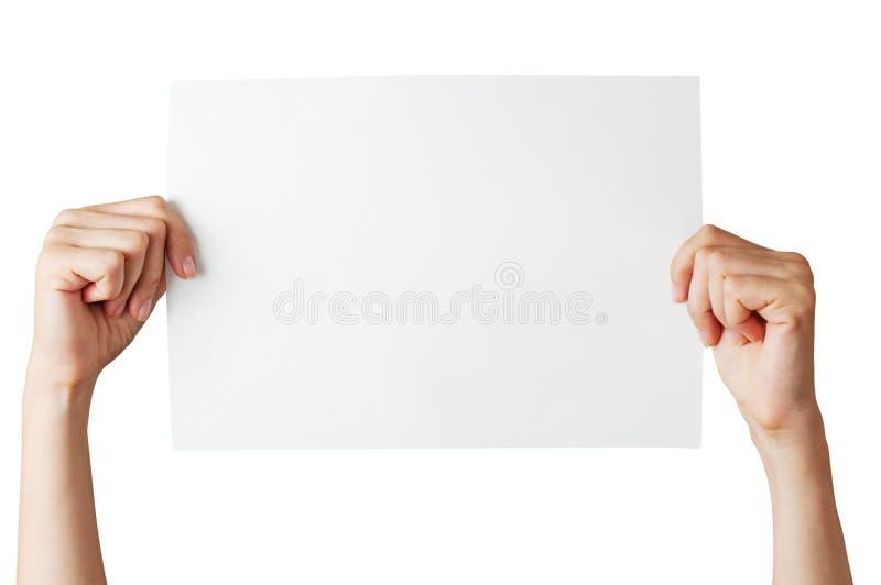 Händer med tomt papper arkivfoton