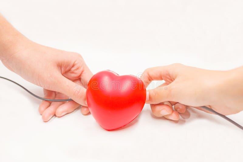Händer med uppladdning kablar för att hjälpa att återställa hjärta på vit bakgrund Hjärtsjukdomskydd, proaktiv undersökning, diag arkivbild