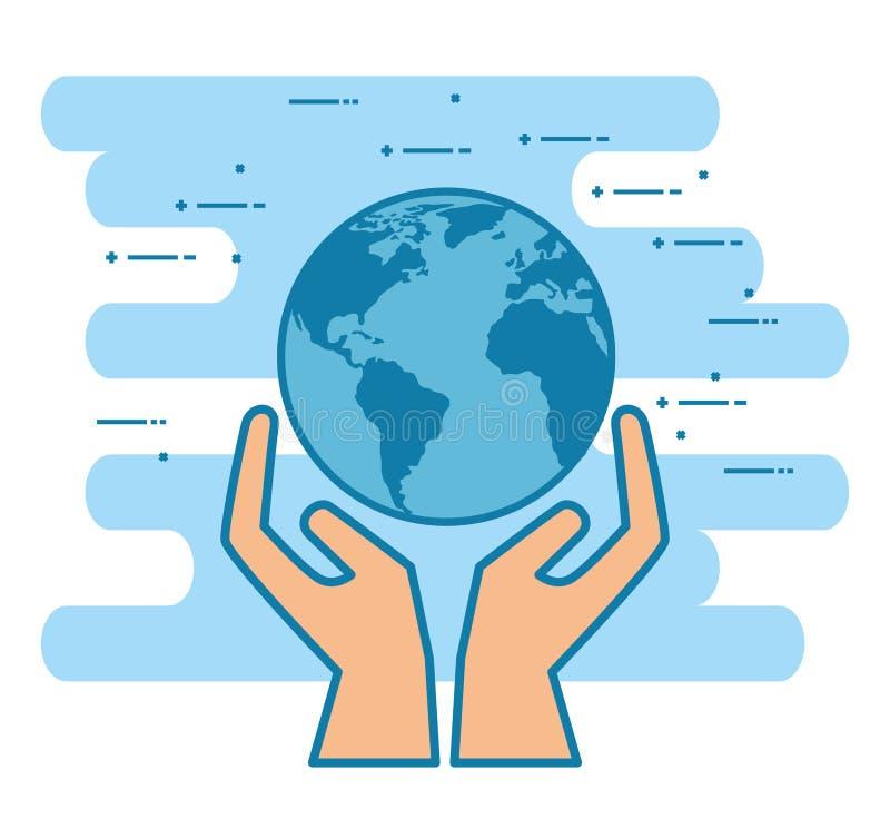 Händer med världsplaneten stock illustrationer