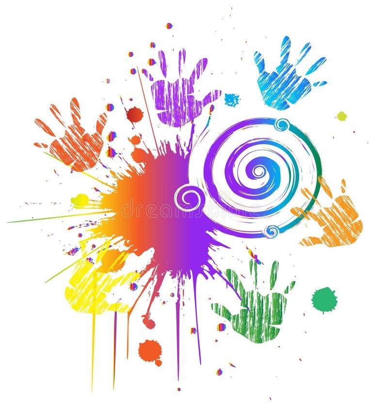 Händer och färgpulvergrunge utformar swirly royaltyfri illustrationer