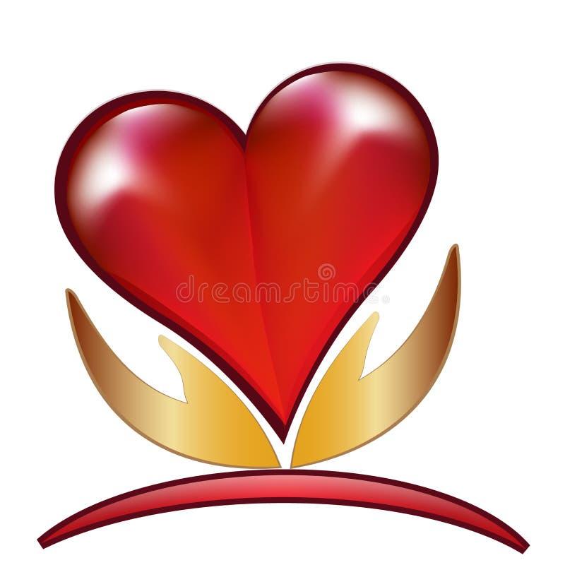 Händer och förälskelsehjärtalogo vektor illustrationer