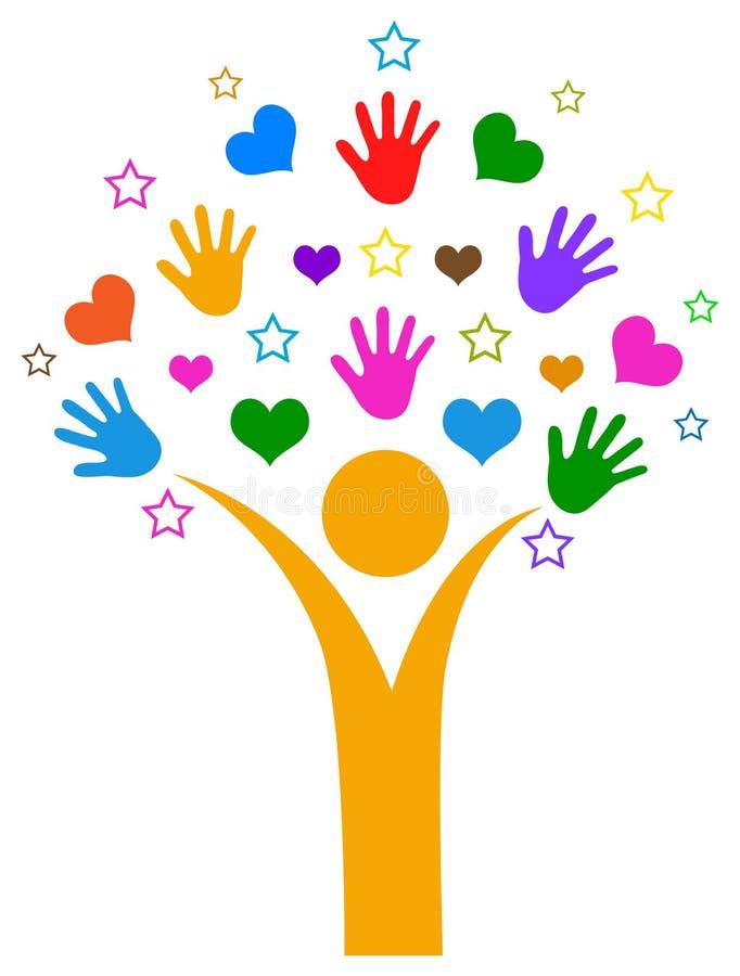Händer och hjärtor med stjärnafolkträdet stock illustrationer