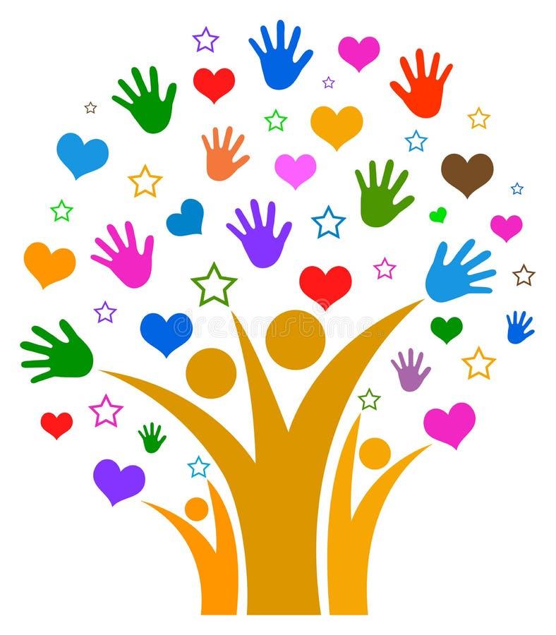 Händer och hjärtor med stjärnastamträdet royaltyfri illustrationer