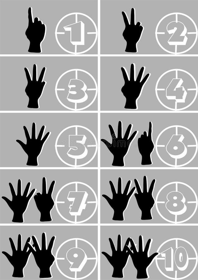 Händer och nummer stock illustrationer