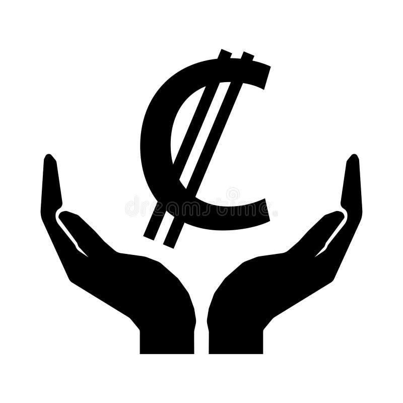 Händer och tecken för pengarvalutaCOSTA RICA KOLON stock illustrationer