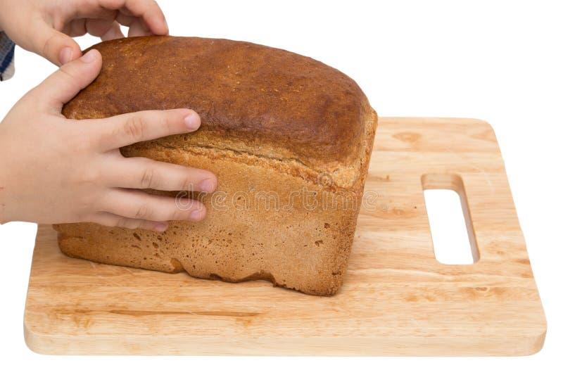 Händer på bröd på ett bräde på en vit bakgrund royaltyfri foto
