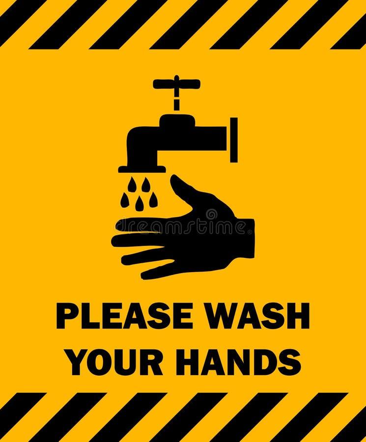 händer please undertecknar din wash stock illustrationer