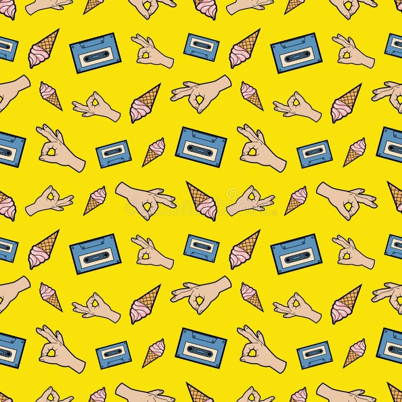 Händer reko sömlös modell för band och för glass Modebakgrund i Retro komisk stil vektor illustrationer
