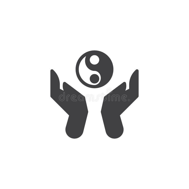 Händer rymmer den ying yang vektorsymbolen stock illustrationer