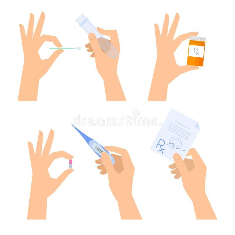 Händer rymmer medicinsk saker: termometer preventivpiller, recept stock illustrationer