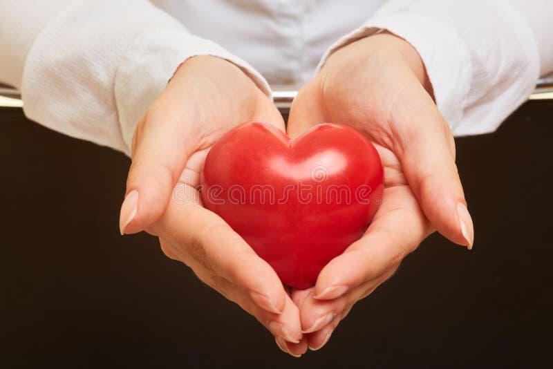 Händer rymmer röd hjärta som ett symbol av omsorg royaltyfria bilder