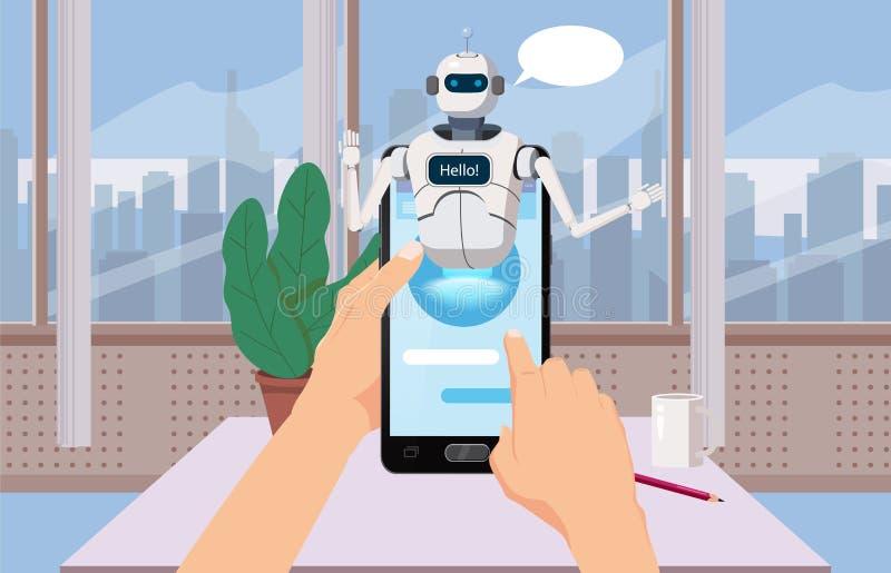 Händer rymmer Smartphone fri pratstundBot, säger faktisk hjälp för robot på Smartphone den Hello beståndsdelen av websiten eller  royaltyfri illustrationer