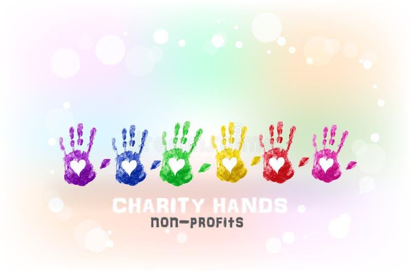 Händer skrivar ut mallen för bakgrund för vattenfärgen för begreppet för välgörenhet för förälskelsehjärta den vinkande royaltyfri illustrationer