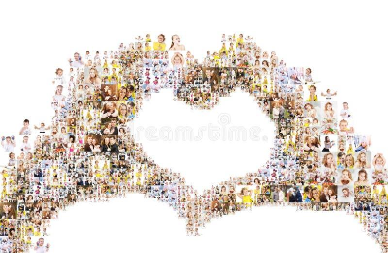 Händer som bildar hjärta, collage av folk arkivbild