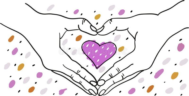 Händer som bildar hjärtaform runt om en färgrik romantisk hjärta - utdragen illustration för hand - som är passande för valentin, vektor illustrationer