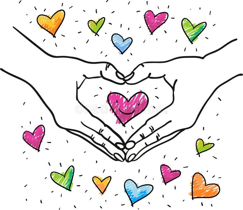 Händer som bildar hjärtaform runt om en färgrik romantisk hjärta - utdragen illustration för hand - som är passande för valentin, royaltyfri illustrationer