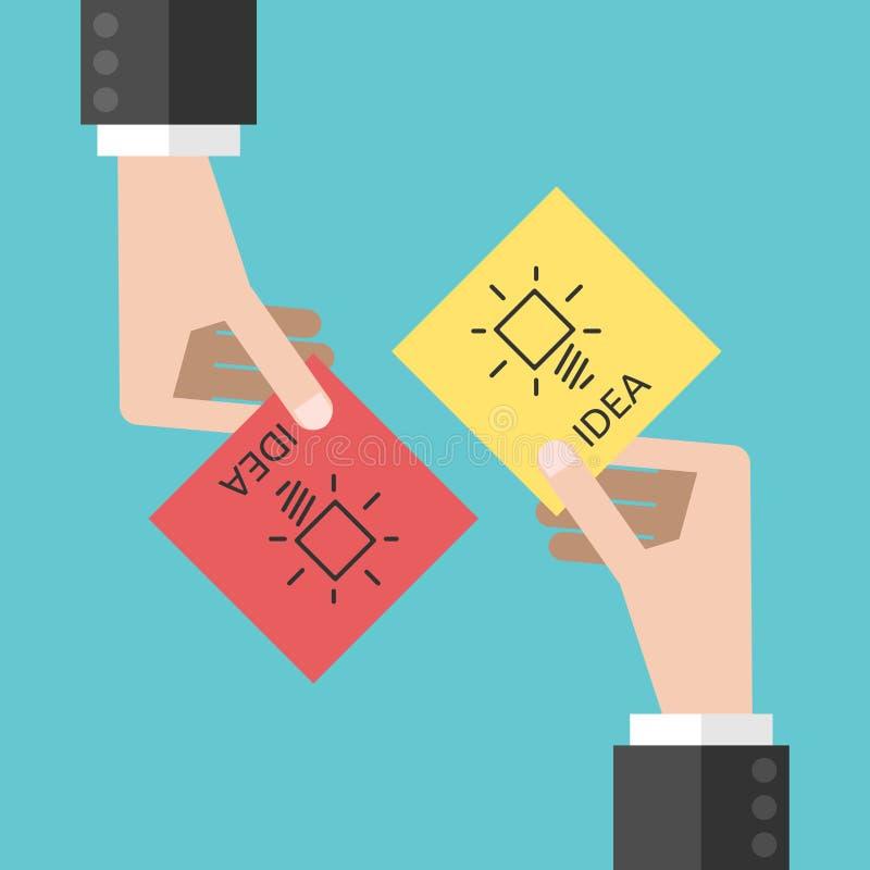 Händer som delar idéer stock illustrationer
