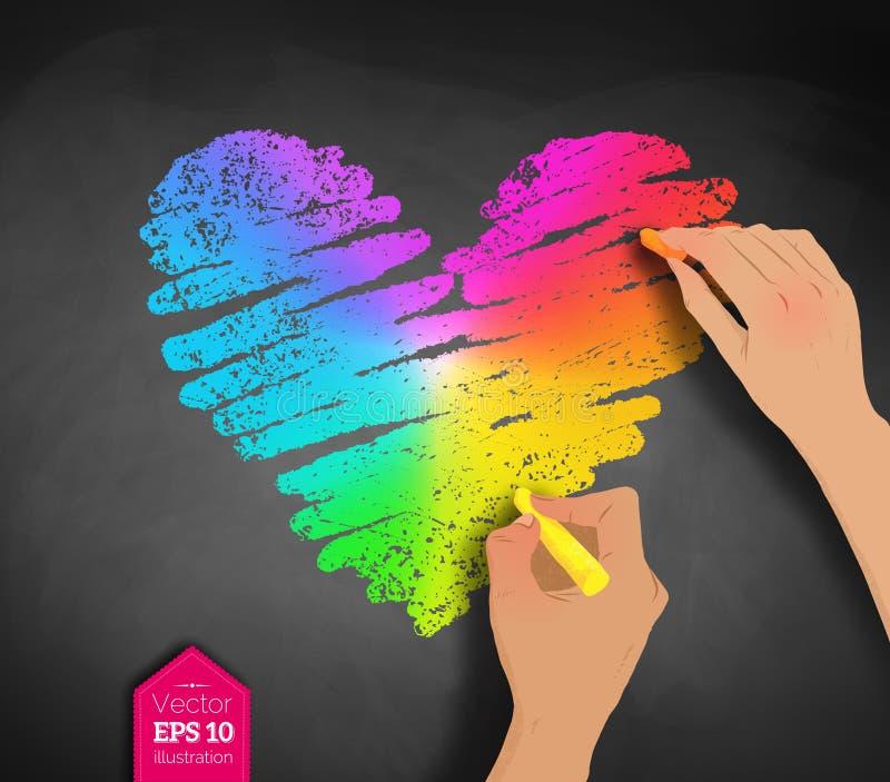 Händer som drar kulör hjärta för regnbåge vektor illustrationer