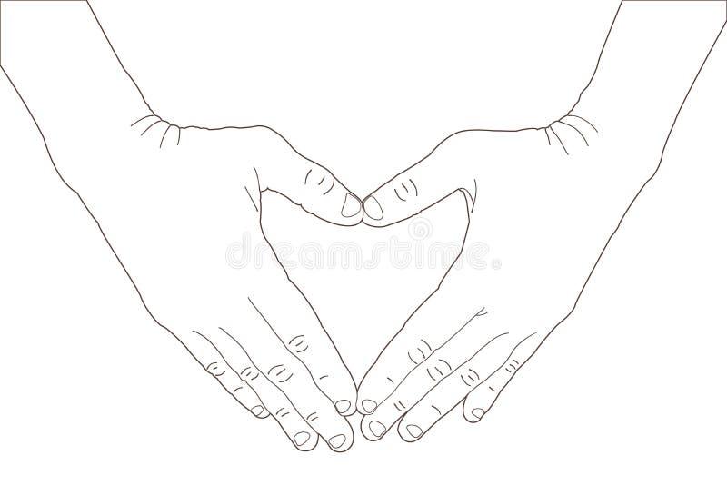 Händer som formar ett hjärtasymbol royaltyfri illustrationer