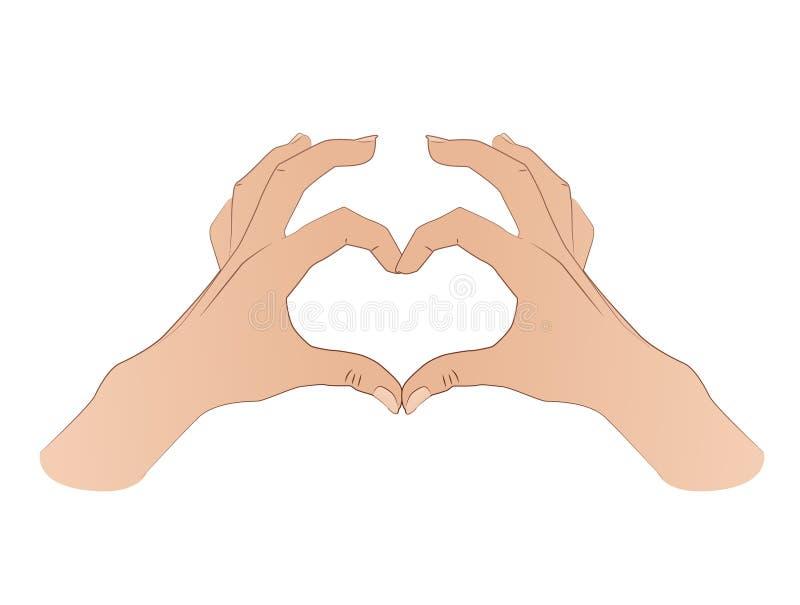 Händer som formar ett hjärtasymbol vektor illustrationer