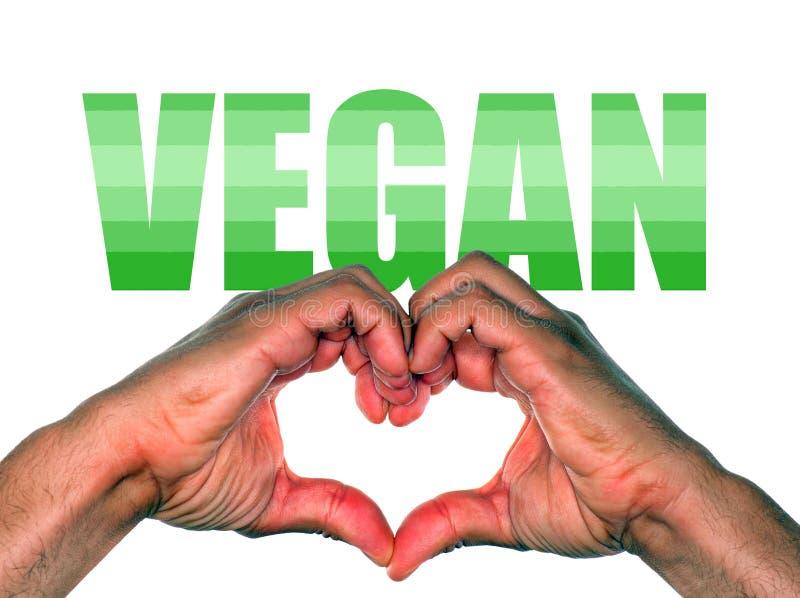 Händer som gör hjärta för strikt vegetarian eller veganismlivsstil arkivfoto