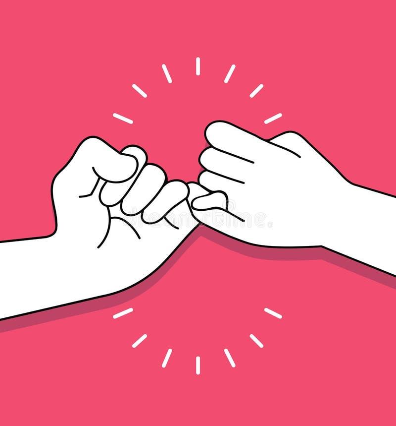 Händer som gör löftevektorbegrepp royaltyfri illustrationer