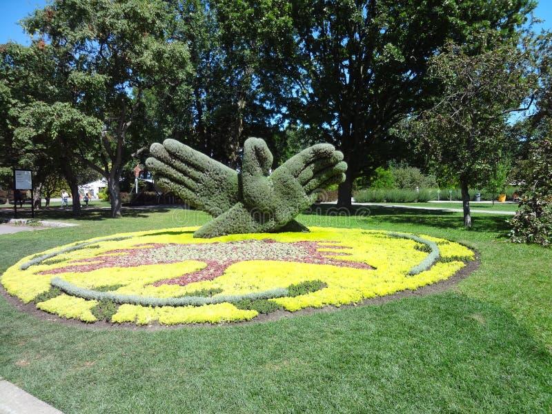 Händer som göras av växter Botanisk trädgård av Montreal Kanada royaltyfri foto