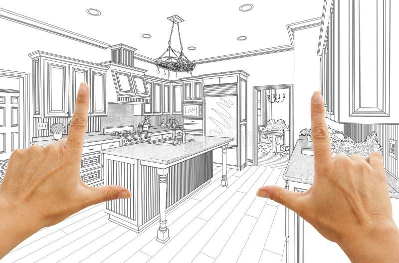 Händer som inramar den beställnings- kökdesignteckningen vektor illustrationer