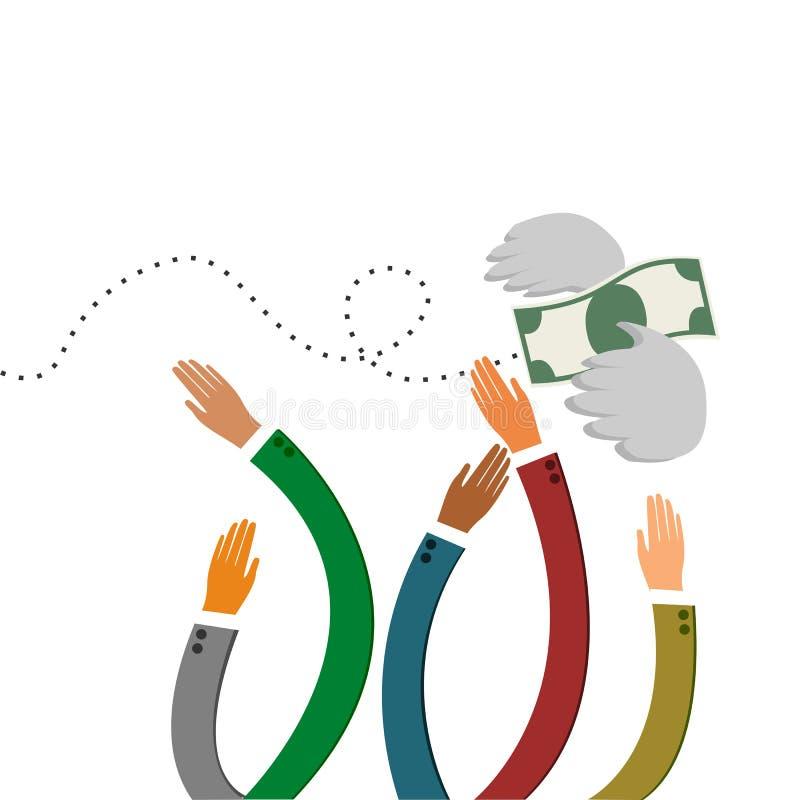 Händer som jagar bevingade pengar som bort flyger vektor illustrationer