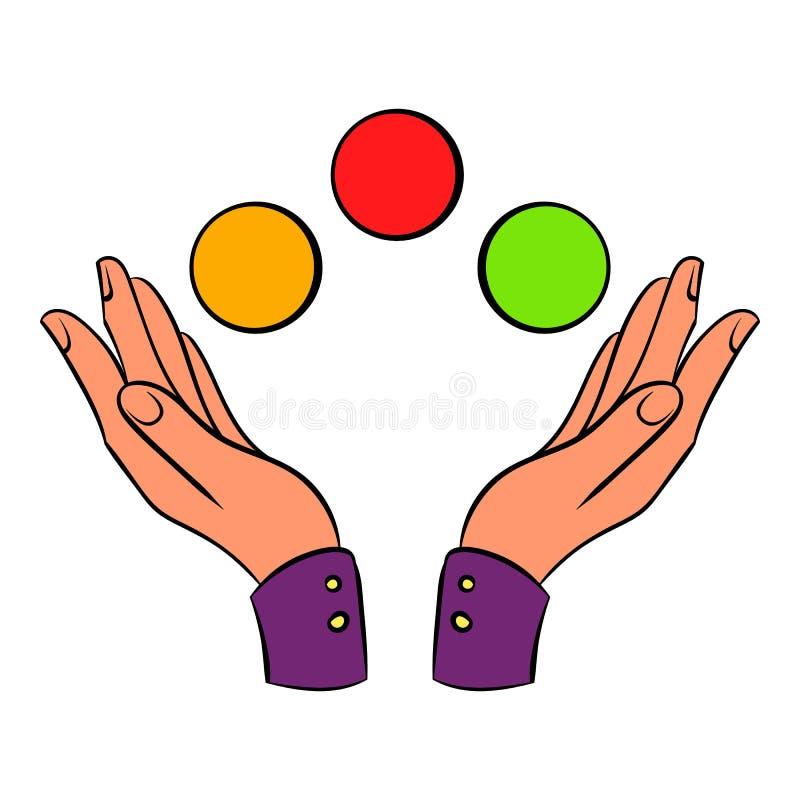 Händer som jonglerar bollsymbolstecknade filmen vektor illustrationer
