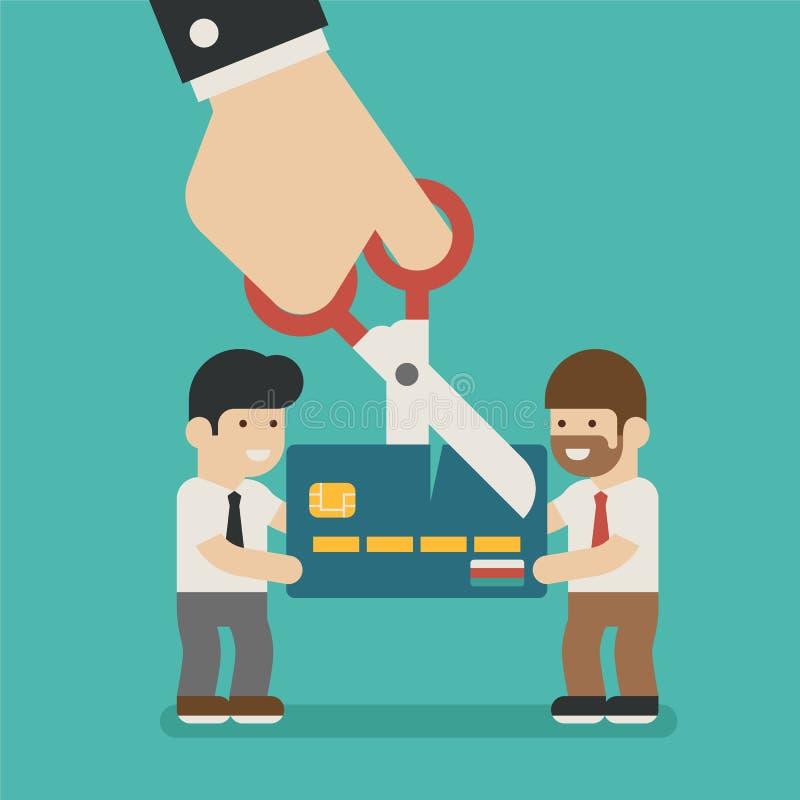 Händer som klipper en kreditkort stock illustrationer