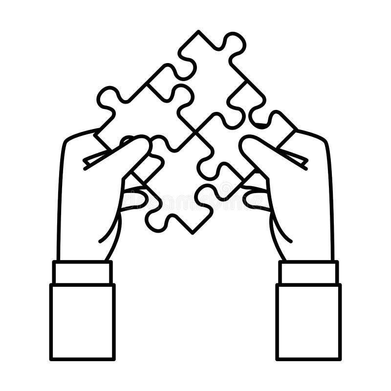 Händer som lyfter den pussel fäste lösningen vektor illustrationer